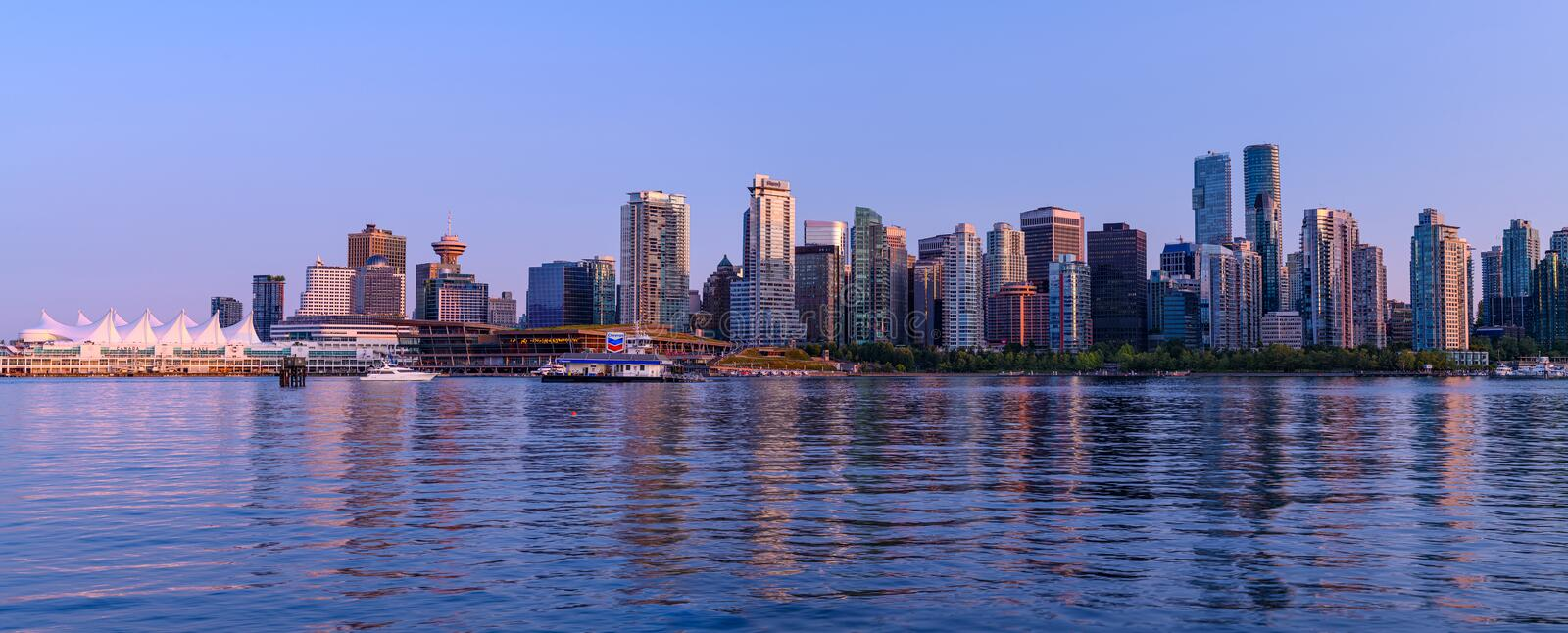 Panoramic view of Vancouver city by night royalty free stock images