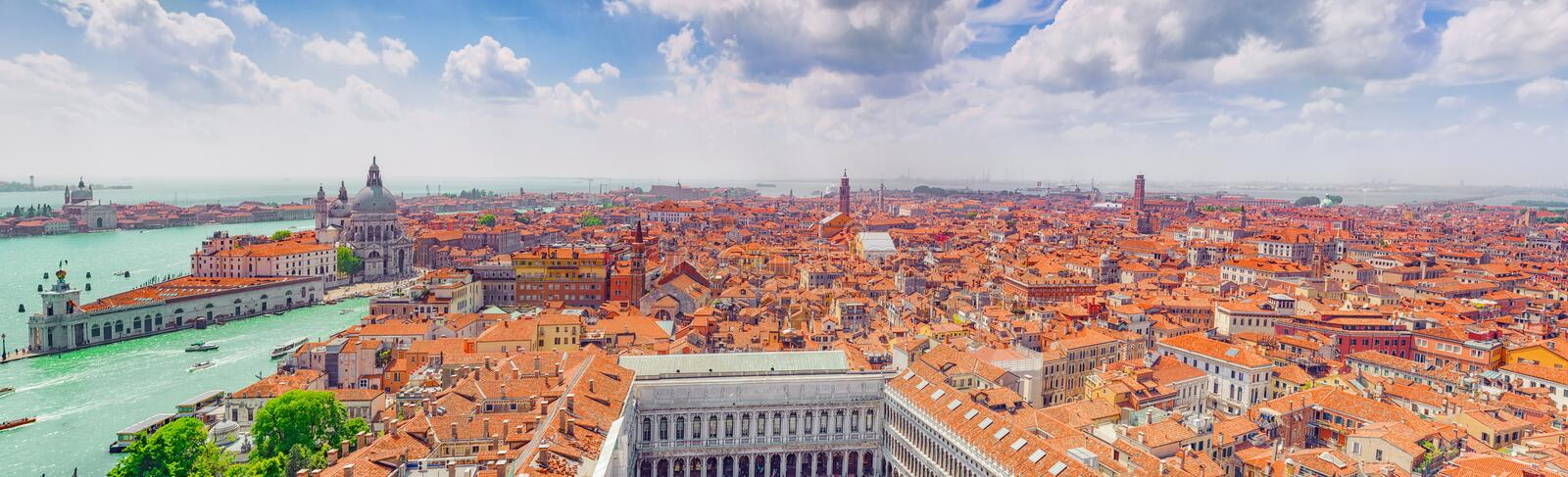 Panoramic view of Venice from the Campanile tower of St. Mark`s stock images