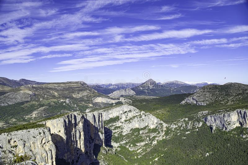 Panoramic view of the Verdon Gorges, Grand Canyon. Alpes de Haute Provence. France stock images