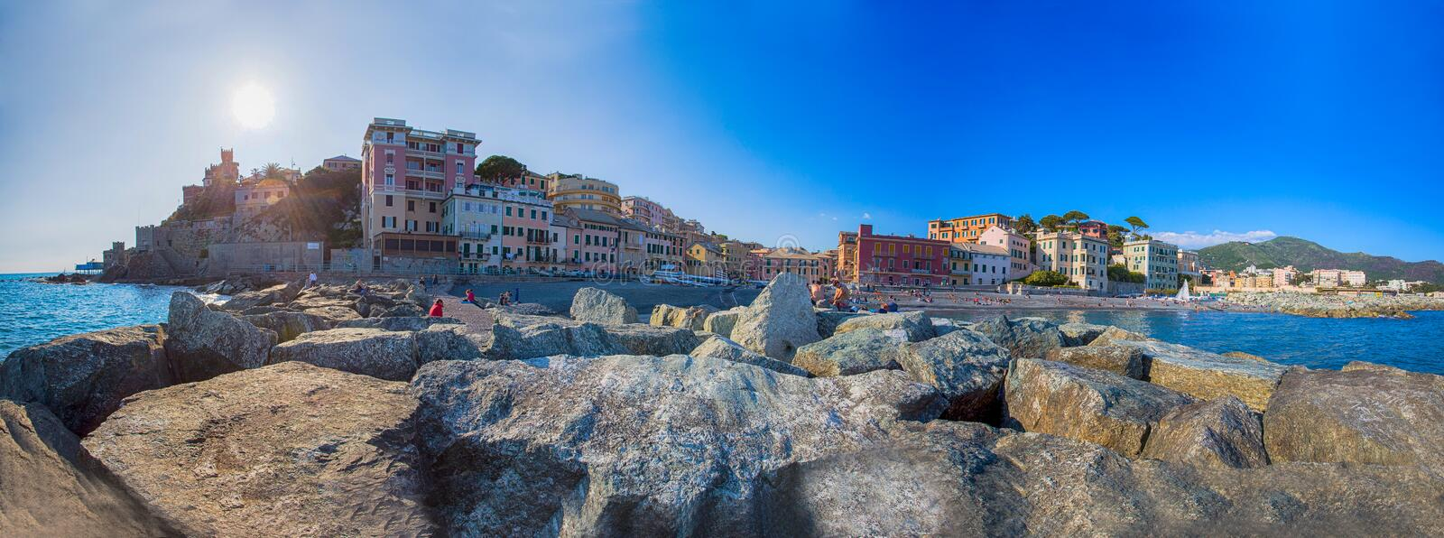 Panoramic view of Vernazzola Beach, colorful houses village in Genoa, Italy stock photo