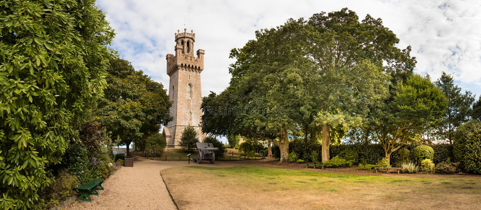 Panoramic view of the Victoria Tower placed next to the Town Arsenal at St Peter Port, Guernsey royalty free stock photos