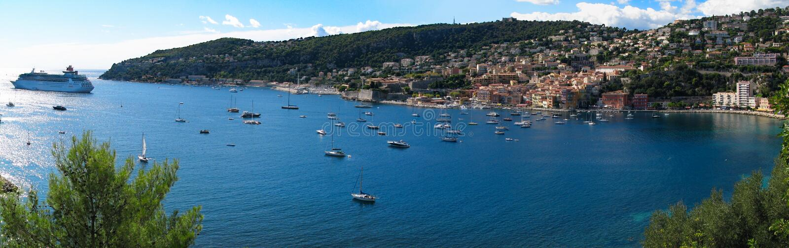 Panoramic view of Villefranche-sur-Mer in the French Riviera, France, and the Mediterranean sea stock images