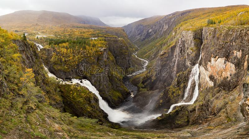 Panoramic view of Voringsfossen waterfall, Mabodalen valley Norway. National tourist Hardangervidda route, Eidfjord, stock photography