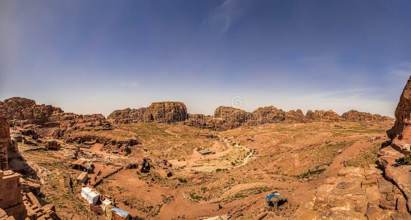 Panoramic view of Wadi Musa from Petra royalty free stock image