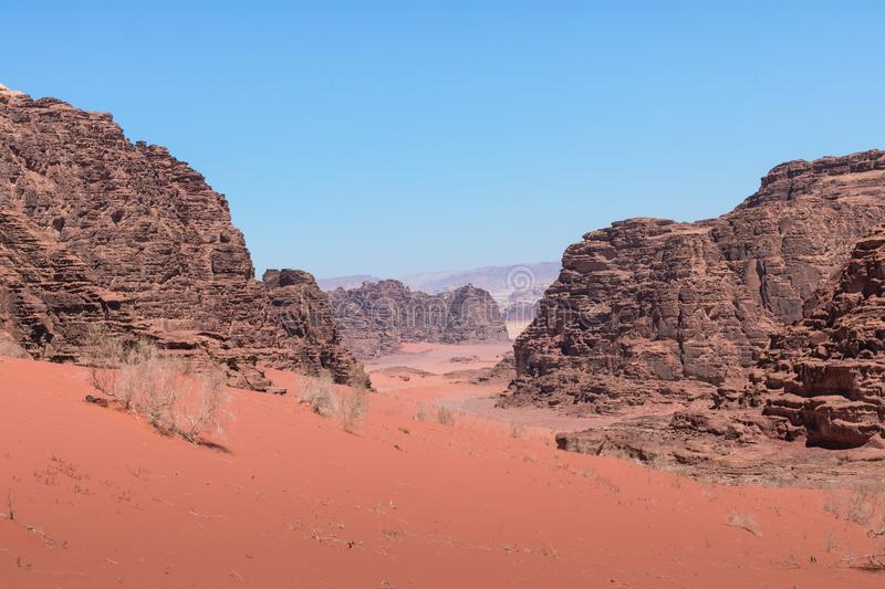 Panoramic view of the Wadi Rum desert, Jordan.  royalty free stock image