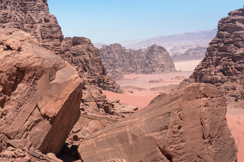 Panoramic view of the Wadi Rum desert, Jordan.  royalty free stock photography