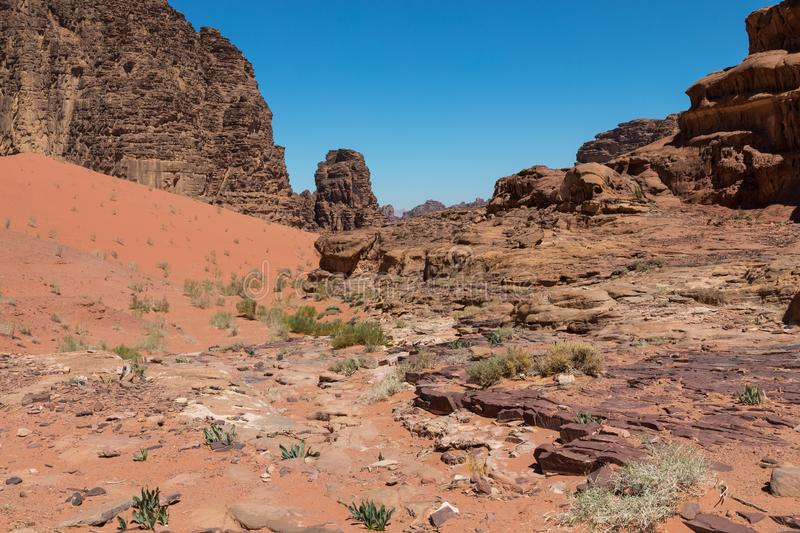 Panoramic view of the Wadi Rum desert, Jordan.  royalty free stock photo