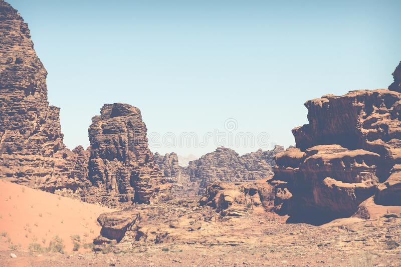 Panoramic view of the Wadi Rum desert, Jordan.  stock image