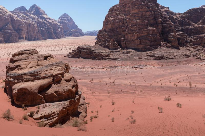 Panoramic view of the Wadi Rum desert, Jordan.  royalty free stock photos