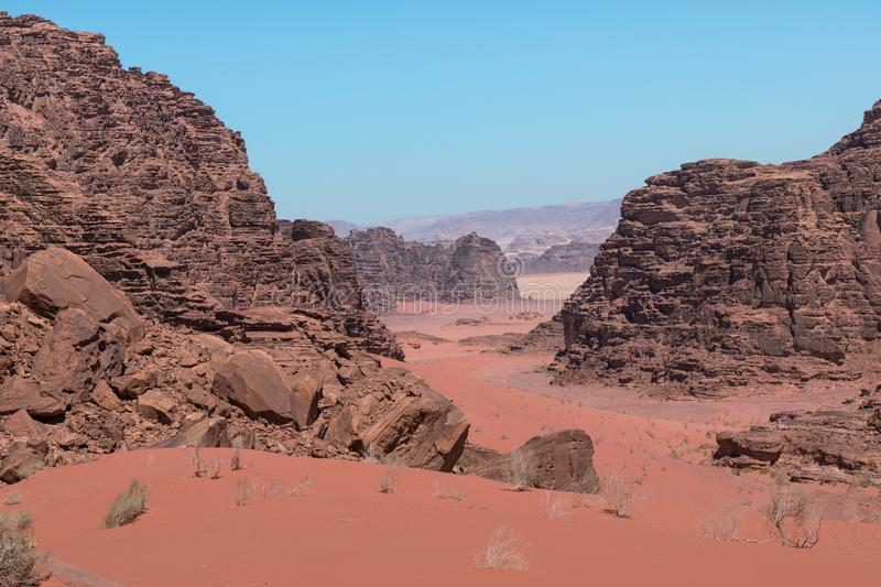 Panoramic view of the Wadi Rum desert, Jordan.  stock photo