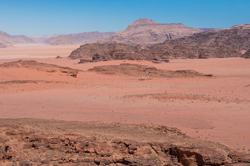 Panoramic view of the Wadi Rum desert, Jordan.  royalty free stock images