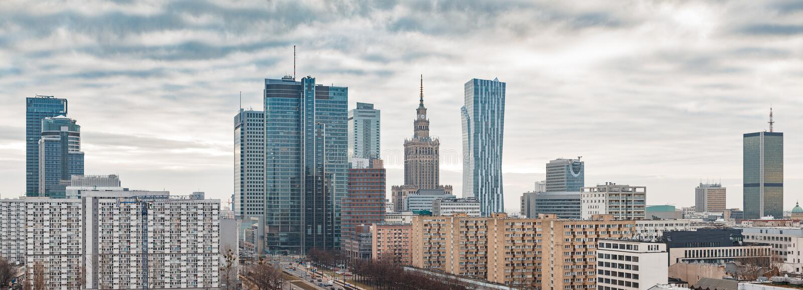 Panoramic view of Warsaw city center. On a cloudy day royalty free stock photography
