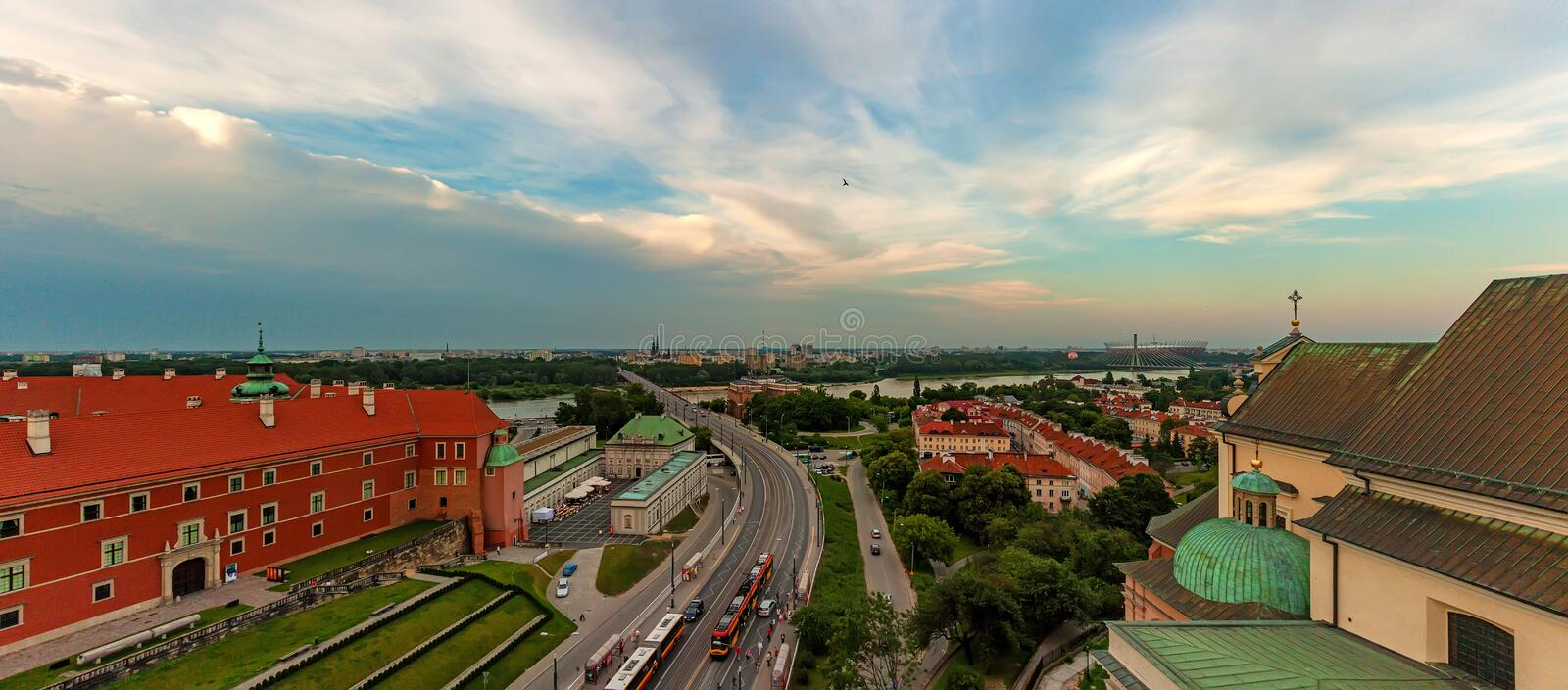 Panoramic view of Warsaw rooftops royalty free stock photos
