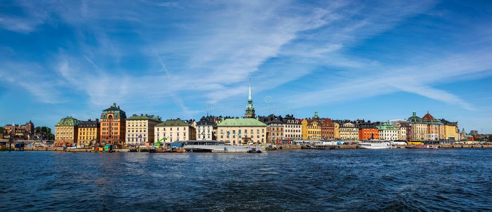 Panoramic view from the water of the colorful buildings of Stockholm harbor on a bright sunny day. Panoramic view from the water of the colorful buildings of royalty free stock images