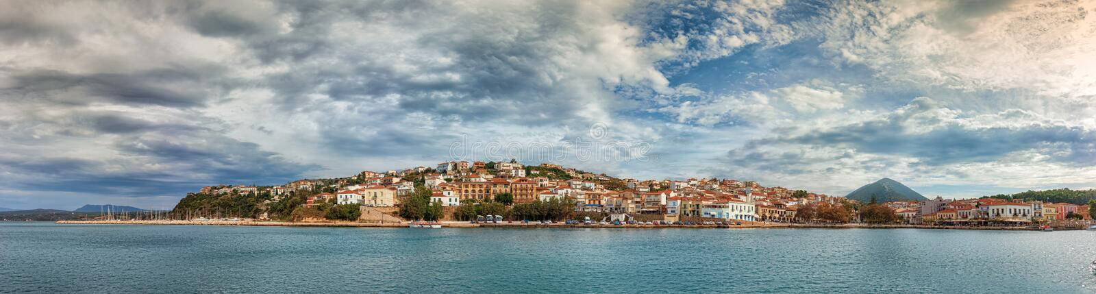 Panoramic view of the waterfront of Pylos, Greece royalty free stock images
