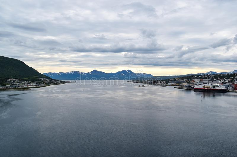 Panoramic view of waterfront of Tromso, Norway royalty free stock photos