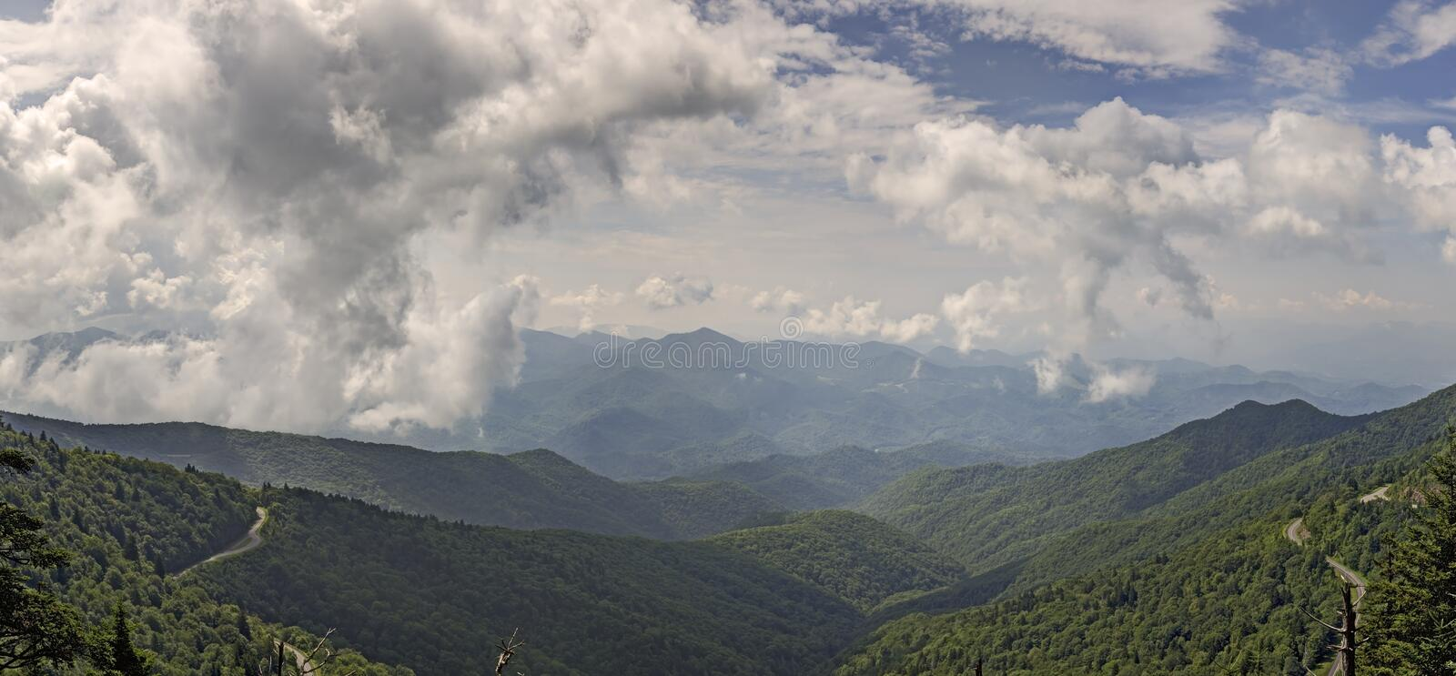 Panoramic View from Waterrock Knob, Blue Ridge Parkway. North Carolina stock photography