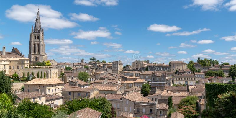 Panoramic view web banner template of the village of Saint-Emilion region of Bordeaux France. A Panoramic view web banner template of the village of Saint royalty free stock photography