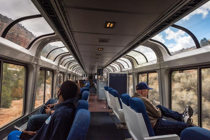 Panoramic View of Western Rail Trip. Raton, New Mexico / USA / April 1, 2016: Panoramic view from glass ceiling car on Amtrak Southwest Chief train as it crosses stock image