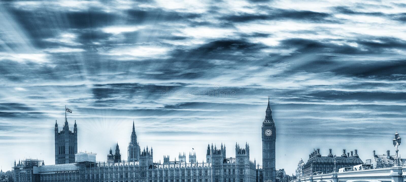 Panoramic view of Westminster Palace, Houses of Parliament - Lon royalty free stock photography
