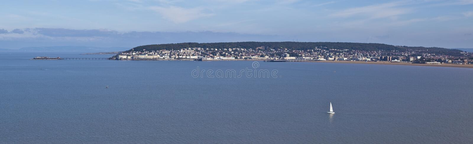Panoramic view of Weston Super Mare and weston bay royalty free stock images