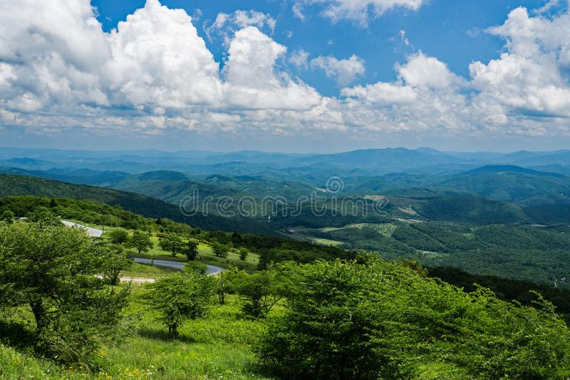 Panoramic View from Whitetop Mountain, Grayson County, Virginia, USA. Panoramic view from a Mountain Meadow with Mountains in the background from the Top of stock images