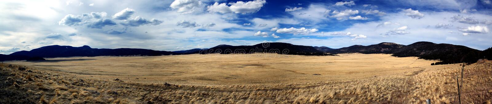 Panoramic view: Wide and open landscape in the mountains / USA royalty free stock image