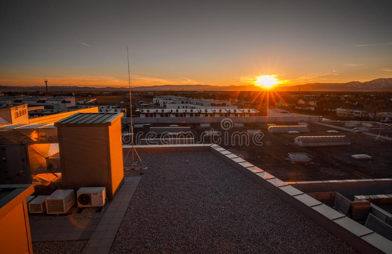 Panoramic view of Wiener Neustadt city in Austria. During sunset royalty free stock photo
