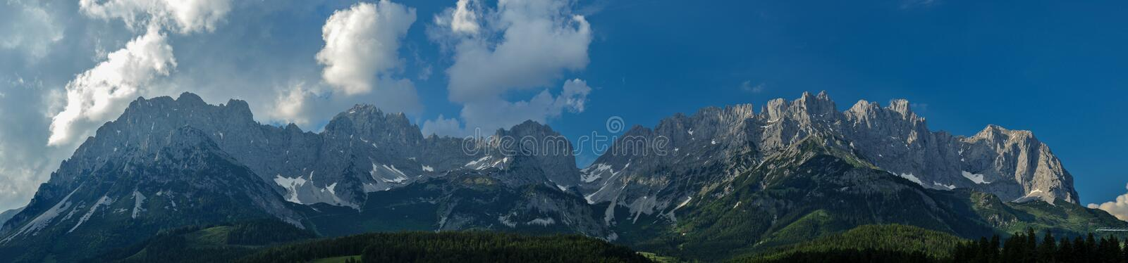 Panoramic view of the Wilder Kaiser in Tyrol. The amazing Mountain Range of the Wilder Kaiser in Spring royalty free stock images