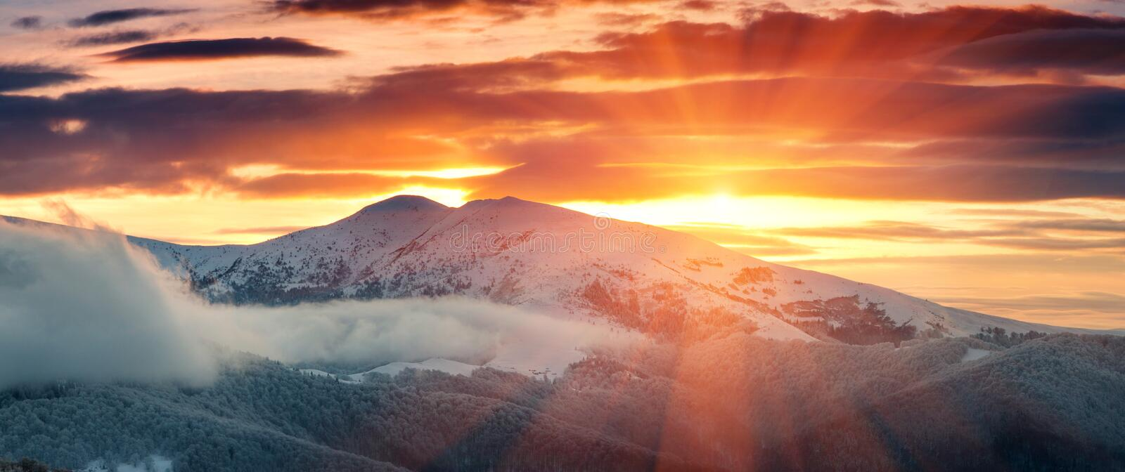 Panoramic view of winter mountains at sunrise. Landscape with foggy hills and trees covered with rime. stock images