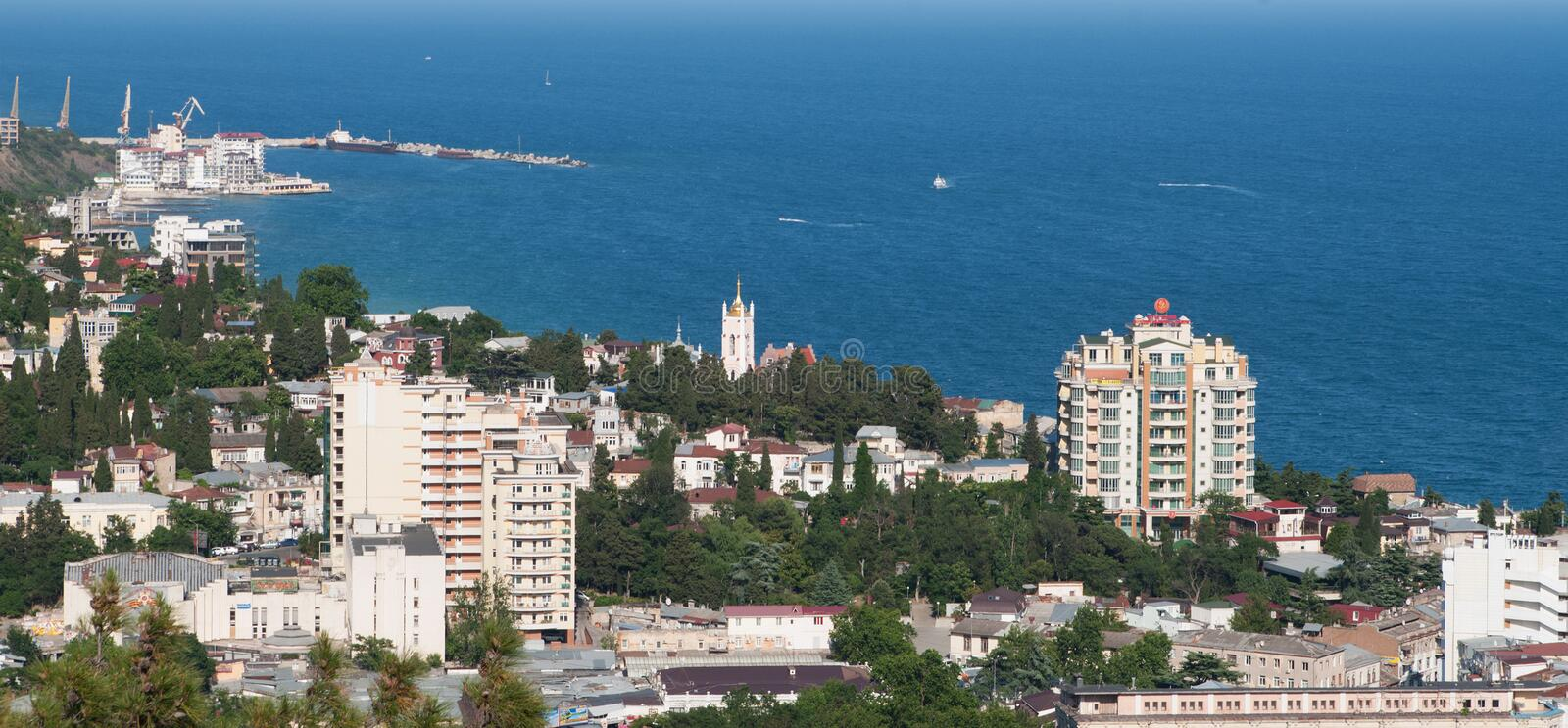 Panoramic view of Yalta city, Crimea royalty free stock images