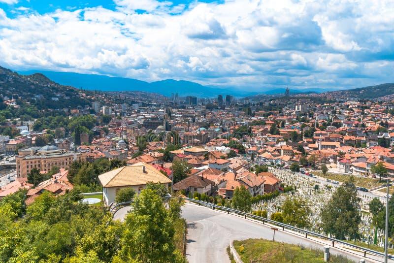 Panoramic View of Sarajevo. Panoramic view of Yellow Fortness Zuta Tabija, Vratnik in Sarajevo, Bosnia and Herzegovina royalty free stock images