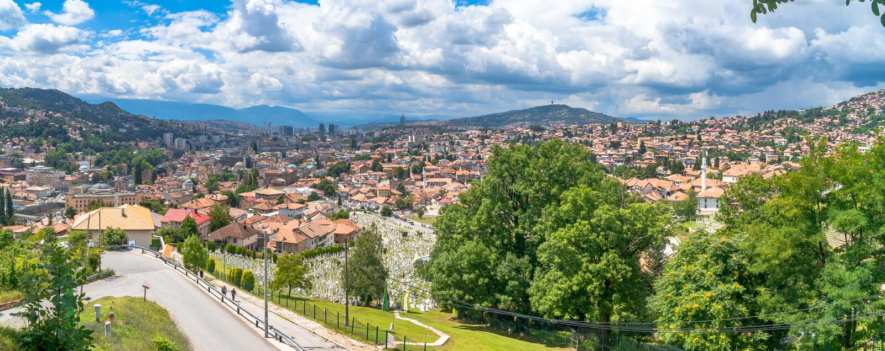 Panoramic View of Sarajevo. Panoramic view of Yellow Fortness Zuta Tabija, Vratnik in Sarajevo, Bosnia and Herzegovina stock image