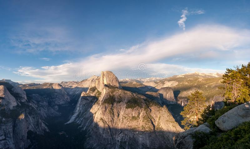 Panoramic view of Yosemite Valley National Park California United States. California mountain stock photo