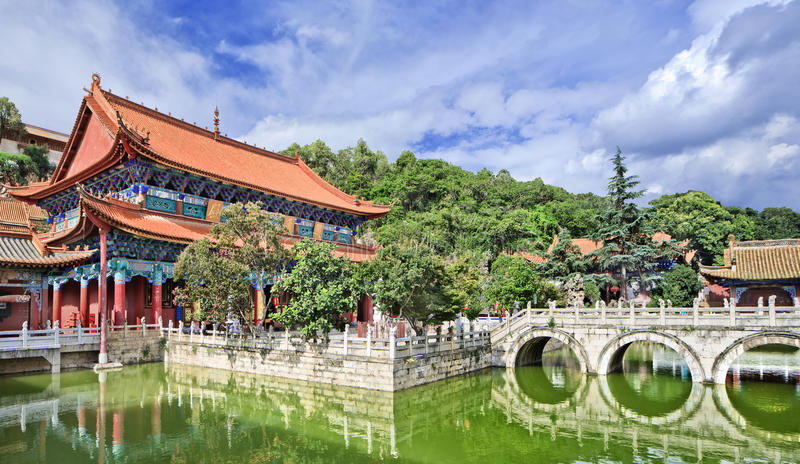 Panoramic view on Yuantong Temple, Kunming, Yunnan Province, China. Panoramic view on the iconic Yuantong Temple, Kunming, Yunnan Province, China stock images