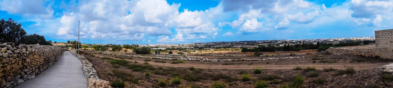 Panoramic view of Zebbug in Malta. A Panoramic view of the countryside in Zebbug and Qormi in Malta stock photography