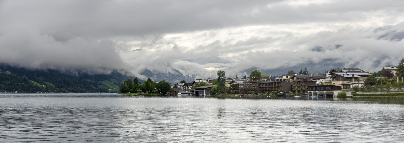Panoramic view of Zell at the lake stock photo