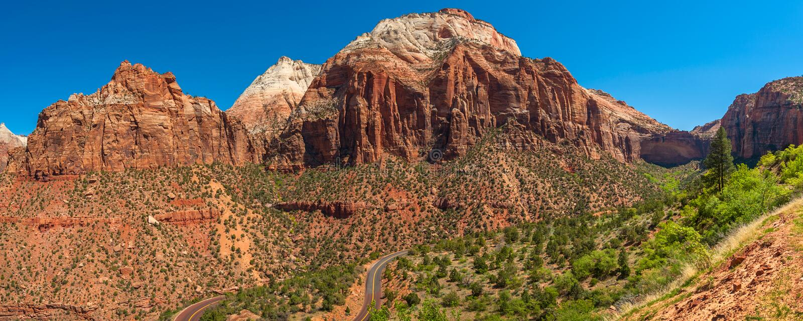 Panoramic View of Zion National Park, Utah. Zion National Park is a southwest Utah nature preserve distinguished by Zion Canyon's steep red cliffs. Enjoy stock photo