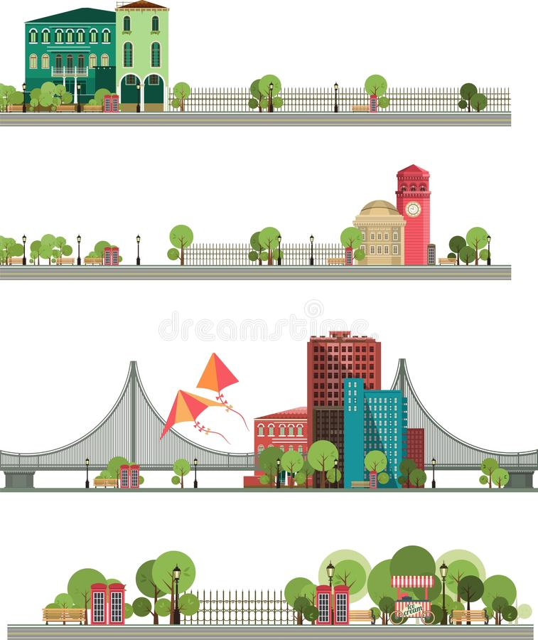 Panoramic Views of the City on a White Background vector illustration