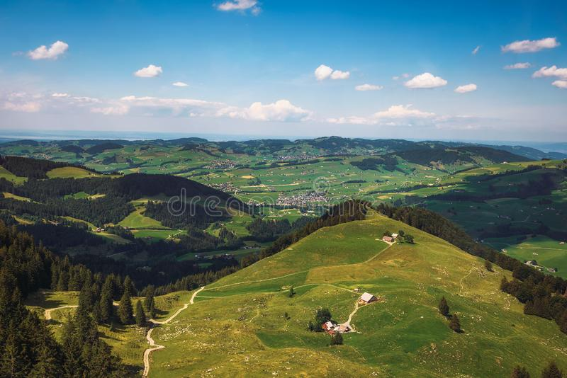 Panoramic views from the Ebenalp mountain in Switzerland stock photo