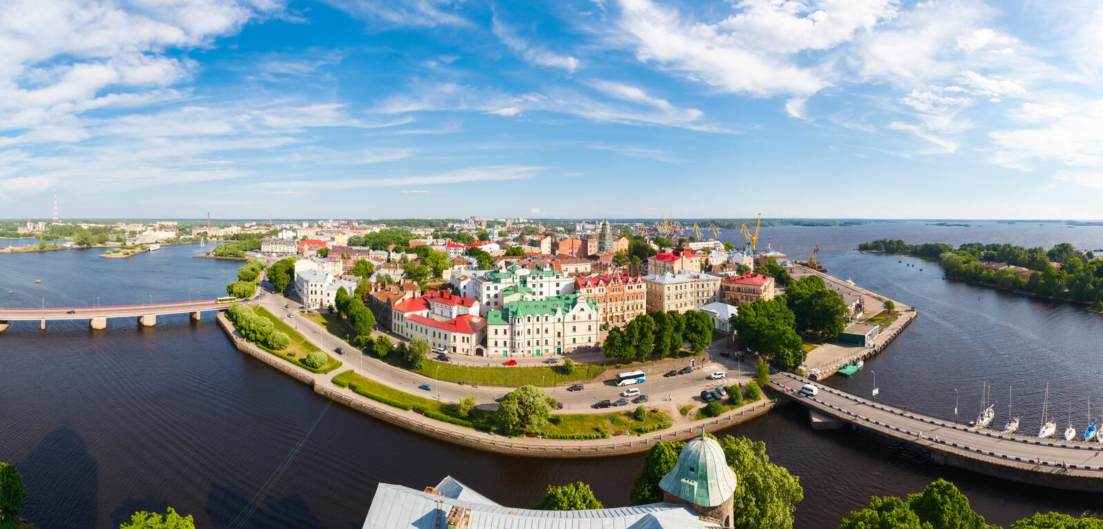Panoramic views from height of Vyborg fortress royalty free stock images