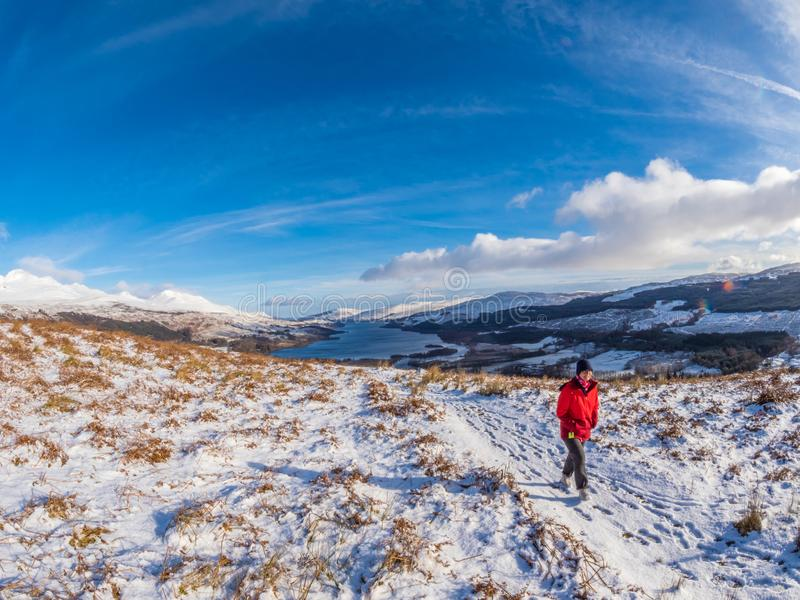 Panoramic views of Loch Tay from above Killin. Winter, Scotland. royalty free stock photos