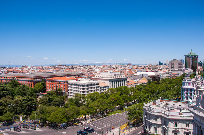 Panoramic views of Madrid from the lookout Cibeles Palace, Spain stock image