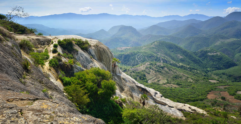 Panoramic views of the mountains from the hot springs Hierve El stock images