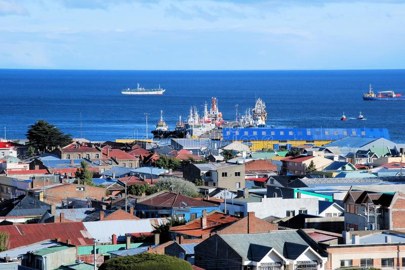 Punta Arenas, Panoramic views with houses and see, Chile. Punta Arenas Panoramic views capital city of Chiles southernmost region, with colored houses, towards royalty free stock photos
