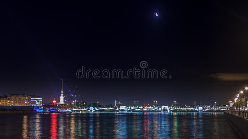 Panoramic views of the river Neva to the University Embankment. royalty free stock images