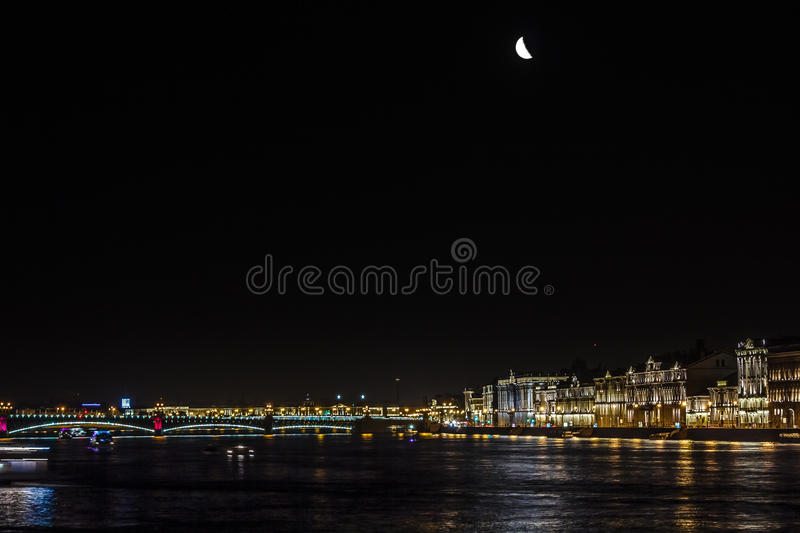 Panoramic views of the river Neva to the University Embankment. royalty free stock photos