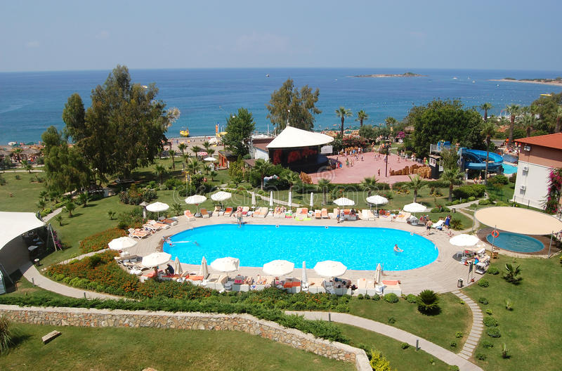 Panoramic views of the sea and the luxury hotel grounds in Alanya. royalty free stock photos