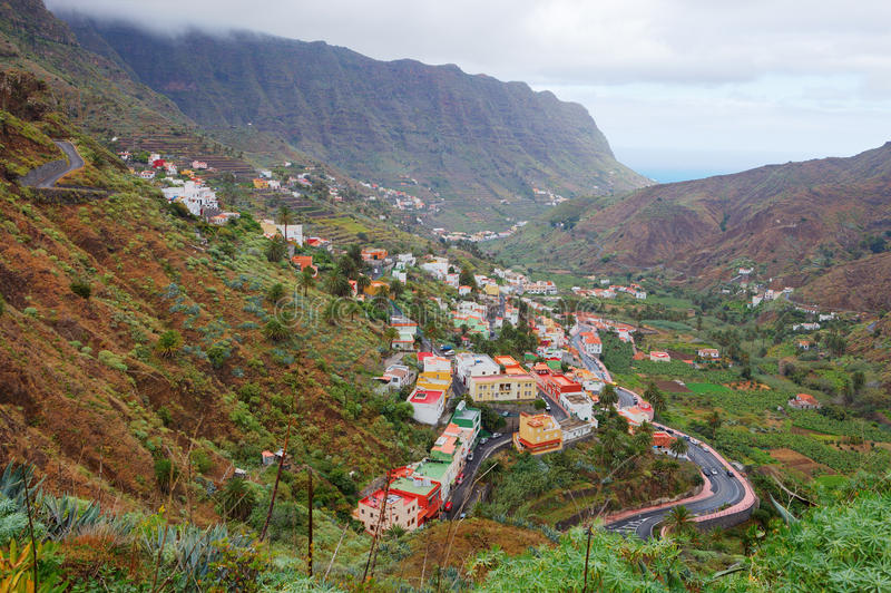 Panoramic village of Hermigua, La Gomera, Spain. Panoramic village of Hermigua, La Gomera, Canary Islands, Spain stock photos
