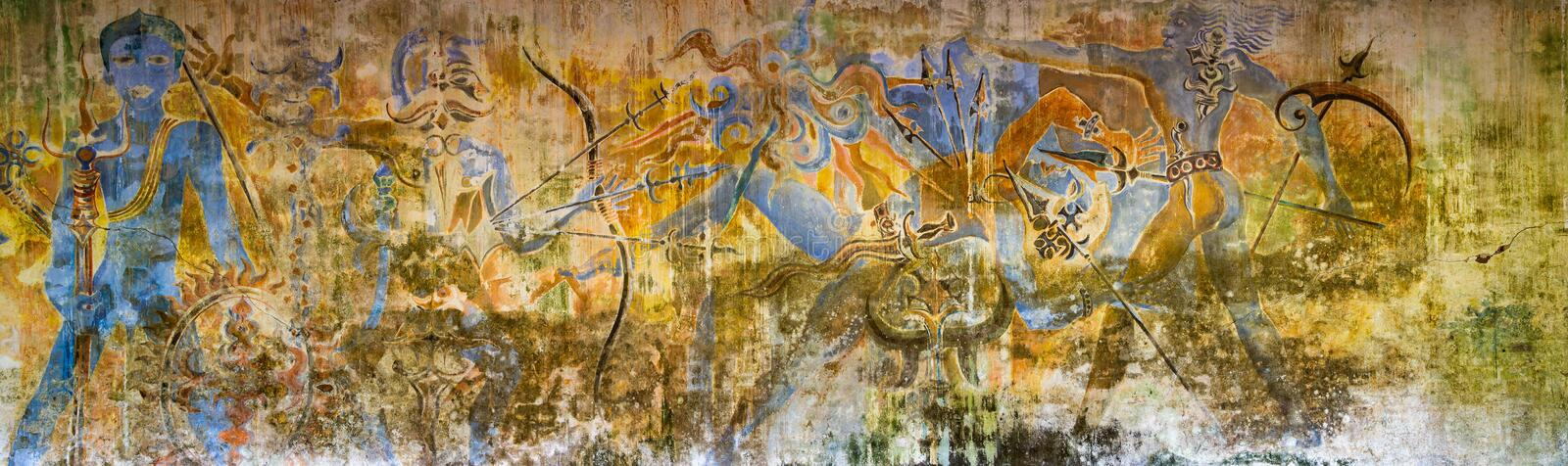 Panoramic wall mural at Bevis Bawa`s  Brief Garden near Beruwala, Sri Lanka. On 1 October 2016 stock photography